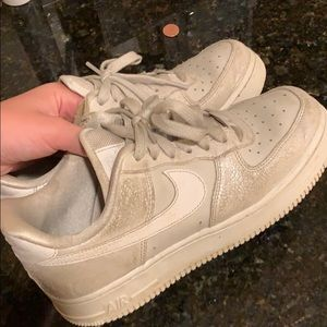 Beige Sparkly Air Force Ones